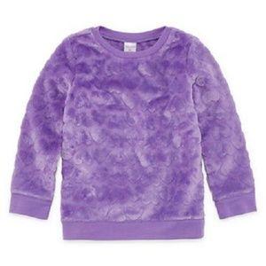 Purple plush heart textured pullover sweatshirt 3T